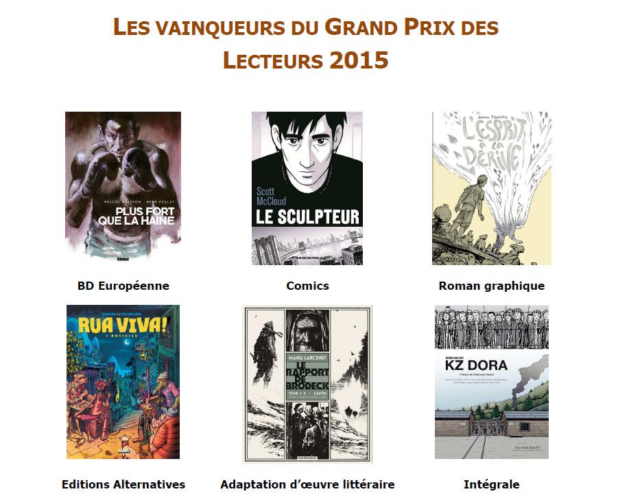 Vainqueurs du grand prix des lecteurs 2015